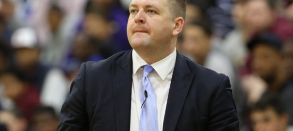 Findlay Prep head coach Andy Johnson is seen against Montverde Academy in the DICK'S Sporting Goods High School National Basketball Tournament on Friday, April  3, 2015 in Queens, NY.  Montverde won 57-53. (AP Photo/Gregory Payan) ORG XMIT: NYOTK